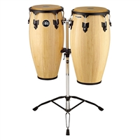 "11"" & 12"" Wood Conga Set, Double Stands, Natural"
