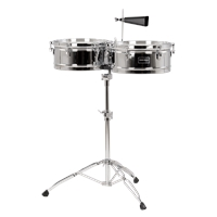 "Fiesta Series 14""/15"" Timbale Set Chrome - w/stand"
